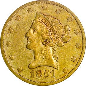 1851 O $10 MS obverse
