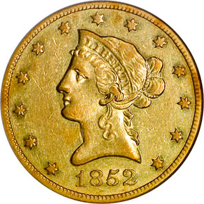 1852 O $10 MS obverse