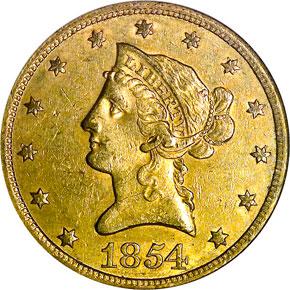 1854 $10 MS obverse