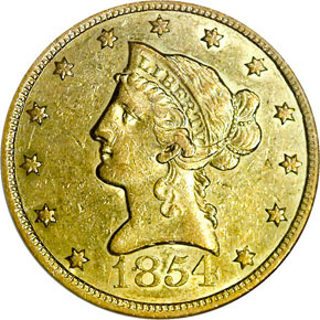 1854 O LARGE DATE $10 MS obverse