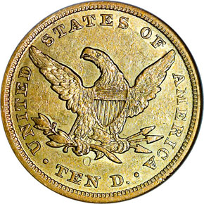 1854 O LARGE DATE $10 MS reverse