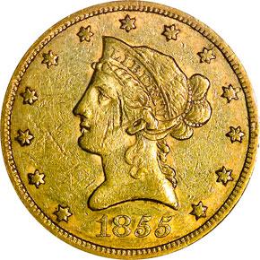 1855 $10 MS obverse