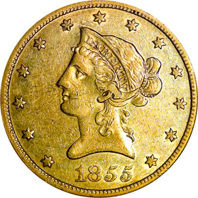 1855 S $10 MS obverse
