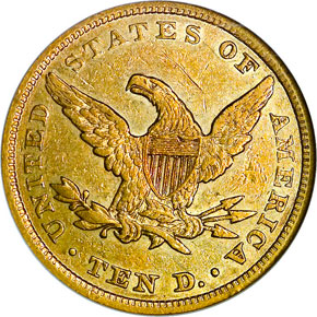 1856 $10 MS reverse
