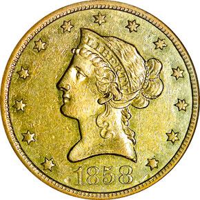 1858 O $10 MS obverse