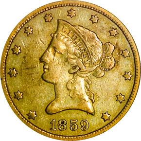1859 O $10 MS obverse