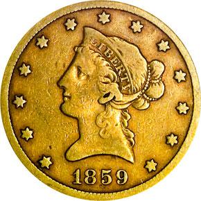 1859 S $10 MS obverse