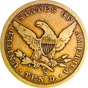 1859 S $10 MS reverse