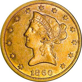 1860 S $10 MS obverse
