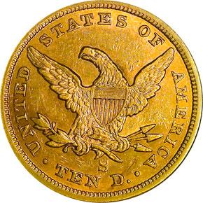 1860 S $10 MS reverse