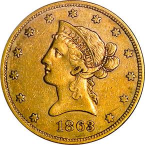 1863 $10 MS obverse