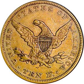 1863 $10 MS reverse