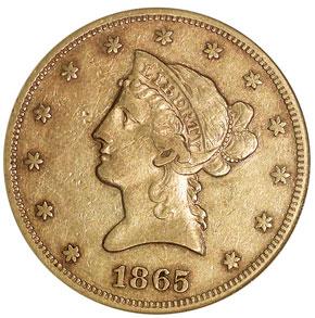 1865 $10 MS obverse