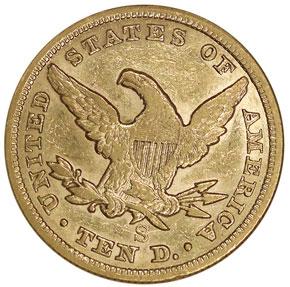 1865 S $10 MS reverse