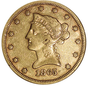 1865/INV 186 S $10 MS obverse