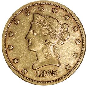 1865/INV 186 S $10 MS obverse