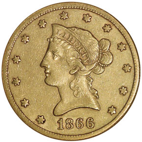 1866 S NO MOTTO $10 MS obverse