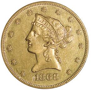 1868 $10 MS obverse