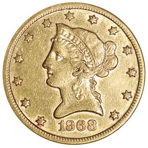 1868 S $10 MS obverse