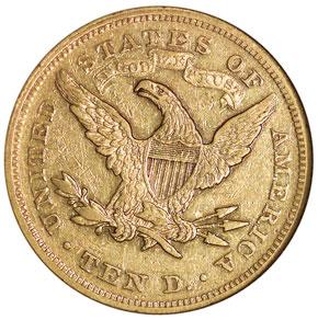 1869 $10 MS reverse