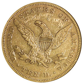 1872 $10 MS reverse