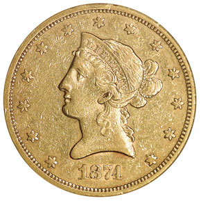 1874 S $10 MS obverse