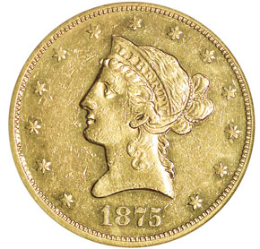 1875 $10 MS obverse