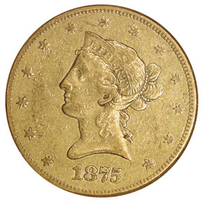 1875 CC $10 MS obverse