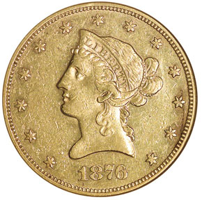 1876 $10 MS obverse