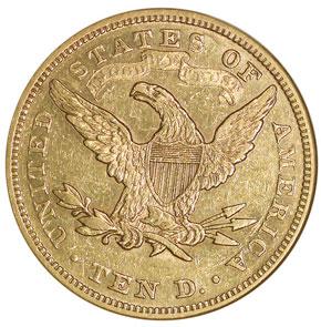 1876 $10 MS reverse