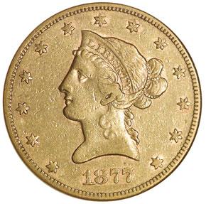 1877 CC $10 MS obverse