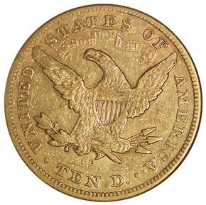 1877 CC $10 MS reverse