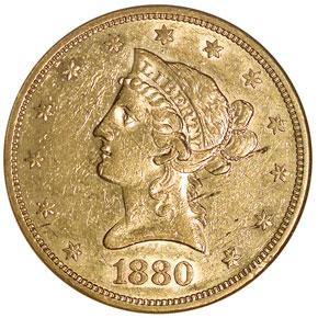 1880 S $10 MS obverse