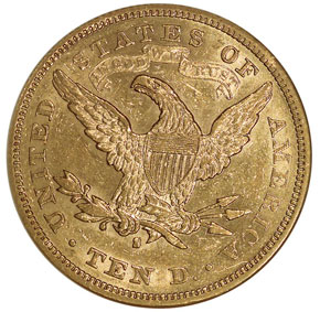 1880 S $10 MS reverse