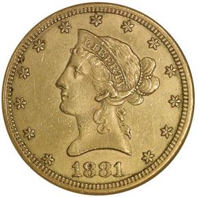 1881 CC $10 MS obverse