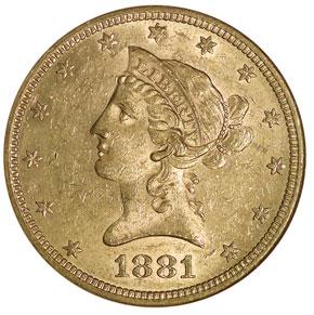 1881 S $10 MS obverse
