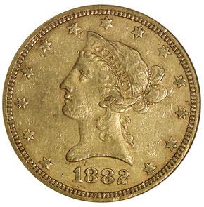 1882 O $10 MS obverse