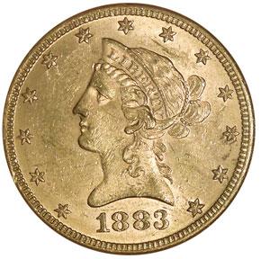 1883 $10 MS obverse