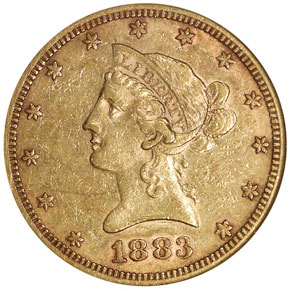 1883 S $10 MS obverse