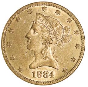 1884 S $10 MS obverse