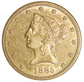 1885 $10 MS obverse
