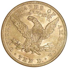1887 $10 MS reverse