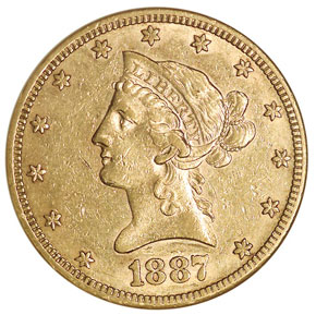 1887 S $10 MS obverse