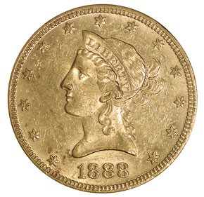 1888 $10 MS obverse