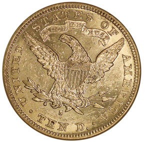 1888 S $10 MS reverse