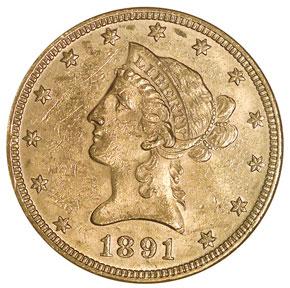 1891 $10 MS obverse