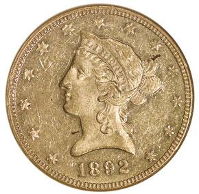 1892 $10 MS obverse