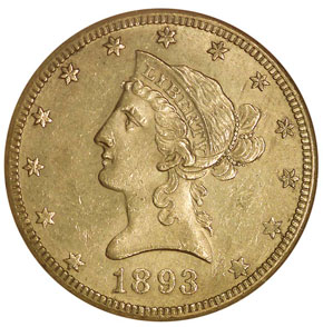 1893 O $10 MS obverse