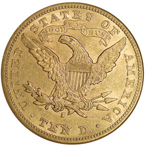 1893 S $10 MS reverse