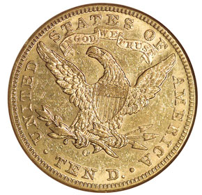 1895 O $10 MS reverse